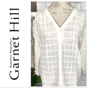 Garnet hill cream button front top size 6